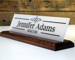 Engraved Office Gifts Office Name Plate Personalized Wood Desk Sign And Acrylic