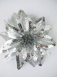 silver flowers silver shiny sequin faux silk flower hair clip pin hair