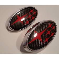 custom subaru emblem 2018 wrx or sti carbon fiber front and rear badge set