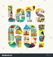 travel theme lets go travel theme vector illustration stock vector 378988474