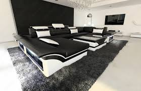Big Leather Sofas Big Leather Sofa Enzo With Led Lights Kitchen Dining