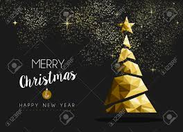 X Mas Tree Merry Christmas And Happy New Year Fancy Gold Xmas Tree In Hipster