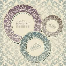 Wallpaper Invitation Card Abstract Background With Vintage Frames Old Style Banners Floral