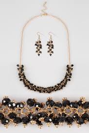 gold black bead necklace images Black beaded necklace earrings set jpg