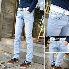 mens light colored jeans 2018 wholesale light blue color jeans male dip dyeing elastic skinny