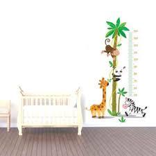 toise chambre bébé sticker toise animaux jungle et savane pour chambre enfant et bébé