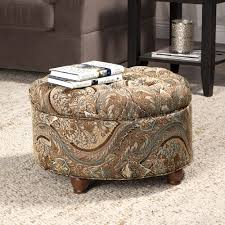 Homepop Storage Ottoman Button Tufted Storage Ottoman Brown And Tel Paisley Homepop
