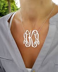 monogram pendants large monogram necklace 2 inch personalized monogram 925