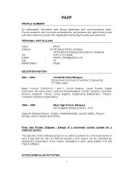personal resume samples fresh graduate resume sample