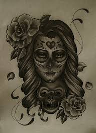 day of the dead face tattoo design