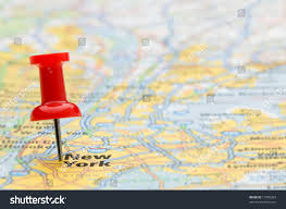 Road Map Of New York Red Pushpin Marking Location New York Stock Photo 17096203