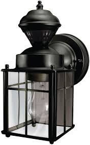 Outdoor Wall Sconce With Motion Sensor Hampton Bay Motion Sensing Exterior Wall Lantern Black 418 916 Ebay