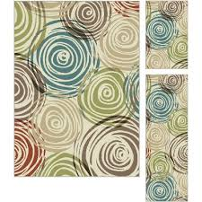 3 piece set brown ivory u0026 green area rug deco rc willey