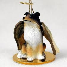 collie dog figurine angel statue hand painted tri color