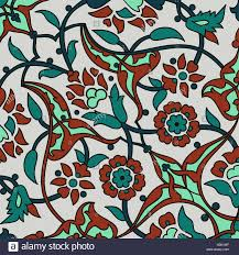 Tribal Print Wallpaper by Stylized Flowers Oriental Wallpaper Retro Seamless Abstract Stock