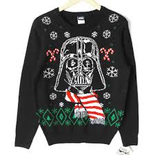 star wars darth vader striped scarf ugly christmas sweater fun