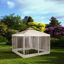 Mosquito Netting For Patio Amazon Com 10x10 Feet 121x121 Inch Square Ivory Poly Vinyl