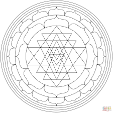 mandala with sri yantra coloring page free printable coloring pages