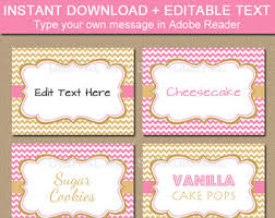 blush pink gold glitter printable party food tents folding