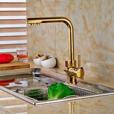 gold brass kitchen sink faucet pure water filter mixer tap 3 way