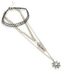 stone locket sunburst u0026 tattoo choker necklace 2 pack zumiez