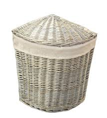 home collection grey wicker corner laundry basket home collection