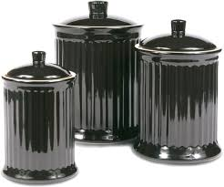 Country Canister Sets For Kitchen Amazon Com Omniware Simsbury Black Stoneware Canister Set Of 3