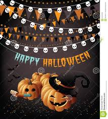 halloween party clipart happy halloween party pumpkins bunting and confetti greeting card