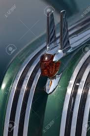 closeup of the ornament of the 1953 pontiac chieftain at