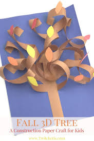 fall 3d construction paper tree autumn crafts for kids paper