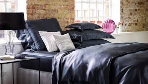 gingerlily charcoal silk duvet cover set at luxdeco