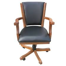 Leather And Wood Chair Hathaway Games Kingston Poker Genuine Leather Upholstered Dining