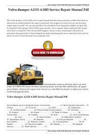 volvo dumper a25 d a30d service repair manual