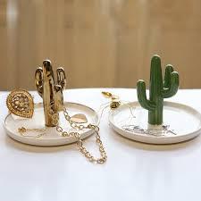 classic cactus ring holder images Retro cactus jewelry box creative ceramic ring organizer makeup jpg