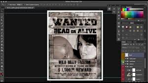 how to design old western wanted poster in photoshop tutorial by