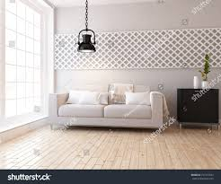 white scandinavian room interior nordic interior stock