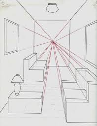 menggambar ruangan dengan satu titik perspektif belajar
