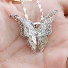 long butterfly necklace images Pinksee chic beautiful 3 layer 3d crystal silver color hollow jpg
