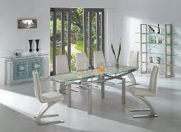 beige modern stylish glass top dining table w extension leaf