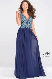 blue chiffon prom dress with empire waistline and plunging