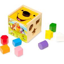 winnie pooh wooden shape sorting cube melissa u0026 doug