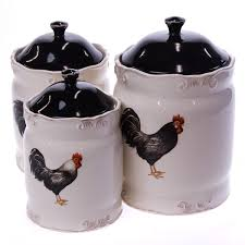 3 piece earthenware rooster canister set collections rooster