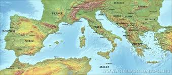 Map Of Mediterranean Countries Southern Europe Physical Map