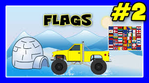 bigfoot presents meteor and the mighty monster trucks flags song for kids monster trucks with flags of europe flags