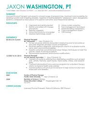 Summary Examples For Resume by Best Physical Therapist Resume Example Livecareer