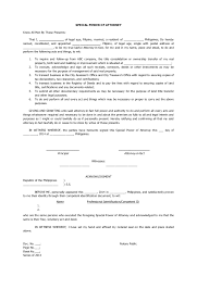 power of authority template special power of attorney