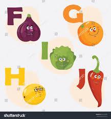 vector illustration fruit vegetables emoticon alphabet stock