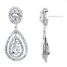 earring drop cerice s fancy pave cz pear drop earrings