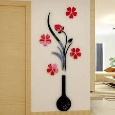 black vase and flowers acrylic 3d wall stickers beddinginn