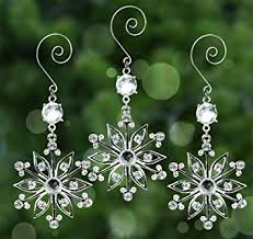 amazon com snowflake ornaments set of 3 sparkling crystal and